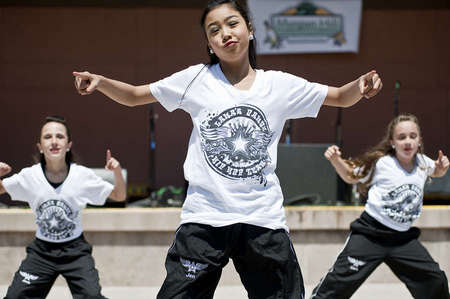 Lona's Dance Hip Hop Team, a local Morgan Hill competitive dance team, perform at the first annual BBQ Cook-off.