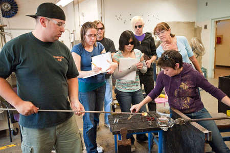 Glassblowing classroom been taught to properly blow and cut glass.