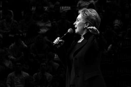 Hillary Clinton, 2008 presidential candidate, giving a speech at an SDSU rally.